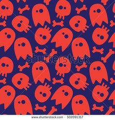Halloween seamless background: ghosts, skulls and bones.
