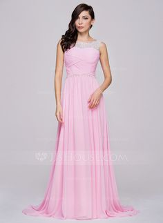 A-Line/Princess Scoop Neck Court Train Chiffon Tulle Prom Dress With Ruffle Beading (018064195)
