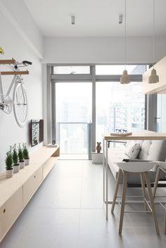 Un appartamento di 30 mq a Hong Kong - Coffee Break Small Apartment Design, Apartment Interior Design, Small Apartments, Small Spaces, Interior Design Hong Kong, Interior Design Studio, Interior Styling, Living Room Designs, Living Room Decor