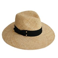 Wide Brim Straw Fedora Hat w/ Decorative Stud