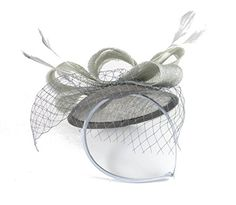 French Kiss Fascinator Sinamay Hat Headband with Bow Feathers Net and Veil for Adults Women Teens (Silver Gray) The Pink Palm Tree    http://www.amazon.com/dp/B00ZDH16U8/ref=cm_sw_r_pi_dp_QkLcxb03NDH4Y  $19.99 fulfilled by Amazon
