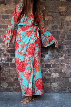 3a66c39fd683d Orange and Turquoise Bird Of Paradise Wrap Dress – Renee Loves Frances
