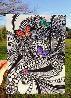 art, arte, butterflies, colores, colors, mariposas, zentangle
