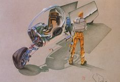 Early design development by Syd Mead. Note that his signature isn't what it is today