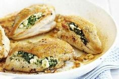 Chicken Breast Stuffed with Spinach Blue Cheese and Bacon.  Omit the flour for Pro/Fat Level 1