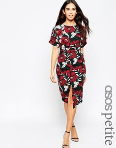 ff1e76e98a ASOS PETITE Wiggle Dress in Floral Print with Split Front Casual Day Dresses