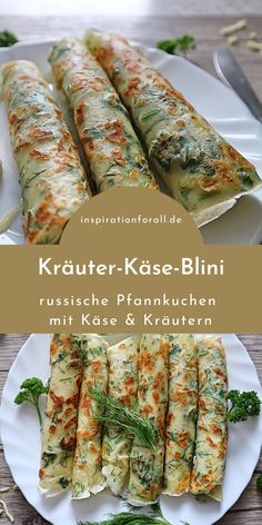Herbal Cheese Blini - Recipe for aromatic herb pancakes with cheese Mothers Day Dinner, Dinner For Two, Dinner Ideas, Dinner Recipes, Evening Meals, Crepes, Queso, Food And Drink, Vegetarian