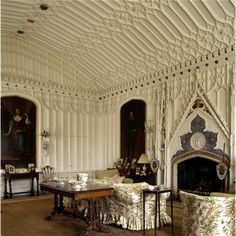 The drawing room at Arbury Hall. Its chimneypiece was modelled on Aymer de Valence's tomb in Westminster Abbey. Historical Architecture, Amazing Architecture, Architecture Details, Gothic Architecture, English Manor, English Style, English Cottages, Interior And Exterior, Interior Design