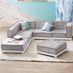 Find your new sectional sofa with Pottery Barn Teen's lounge collection. Discover our variety of sectional collections and find the right style for you. Floor Couch, Floor Cushions, Chair Cushions, Pallet Couch Cushions, Lounge Furniture, Home Decor Furniture, Furniture Stores, Cheap Furniture, Furniture Design