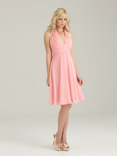 Allure Bridesmaids STYLE: 1321 This short gown features a halter top and a plunging neckline made of ruched chiffon.