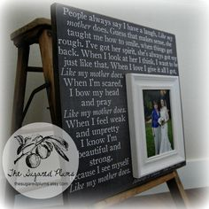 Mother of the bride gift $75 -I love that song, such a beautiful gift