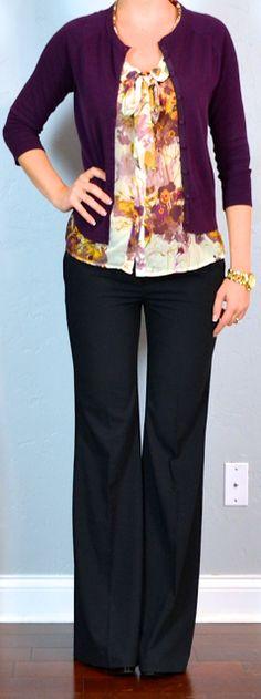 outfit posts: burgundy cardigan, floral tie-neck blouse, black dress pants
