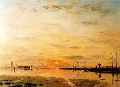 Eugene Boudin, Le Havre, Sunset at Low Tide. Fabulous stand out painting by Monet's mentor in the Musée des Beaux Arts at St Lô Eugene Boudin, Great Paintings, Oil Paintings, Impressionist Paintings, Le Havre, Post Impressionism, Oil Painting Reproductions, Art Moderne, Claude Monet
