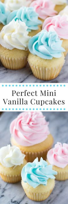 Mini Vanilla Cupcakes - Learn all the tricks for making fluffy, super moist mini cupcakes topped with vanilla buttercream! www.justsotasty.com