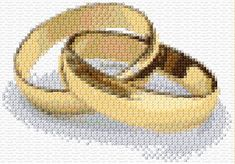 Wedding Rings 2. Free cross stitch patterns at Ann's Cross Stitch Patterns.