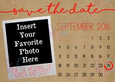 Calendar 5x7 Printable Save the Date by KiddiePartyCreations