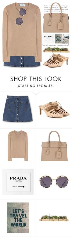 """""""Life isn't perfect but your outfit can be"""" by jan31 ❤ liked on Polyvore featuring Lacoste L!VE, The Row, Prada, Trademark Fine Art and Jayson Home"""