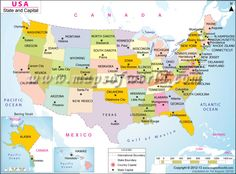 States Of US With Abbreviations Maps Pinterest Buckets - Map of us state capitals