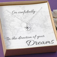 A beautiful compass charm necklace displayed perfectly on a gift card that reads Go confidently in the direction of your dreams. Perfect for graduation gift, goodbye gift, moving, new job... Your choice of silver or gold The standard silver chain is an 18 flat cable chain in a