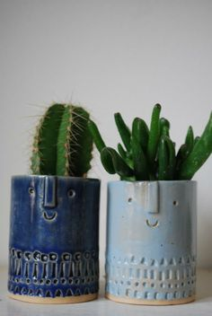 Light Blue and Dark Blue Pair of Small Succulent Pots