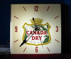 Canada Dry Antique Clock (Old 1970 Vintage Soda Pop Beverage Advertising Square Lighted Pam Sign)