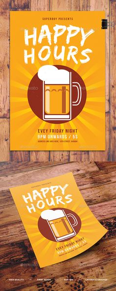 Happy Hour Beer Promo Flyer Template PSD. Download here: https://graphicriver.net/item/happy-hour-beer-promo-flyer/17403961?ref=ksioks
