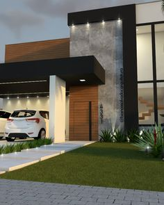 Discover recipes, home ideas, style inspiration and other ideas to try. Minimal House Design, Modern Small House Design, Modern Exterior House Designs, Modern House Facades, Modern Bungalow House, Duplex House Design, House Front Design, Design Your Dream House, Modern Architecture House