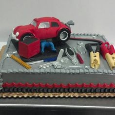 Mechanic cake w/truck instead of car