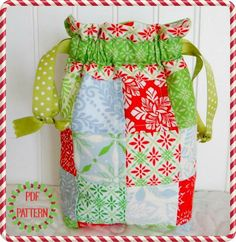 Scrappy Patchwork Gift Bag - PDF Sewing Pattern from A Quilting Life Patterns