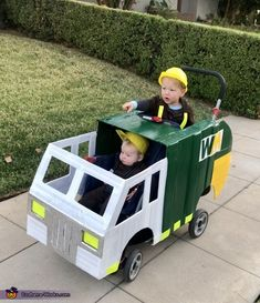 "It's trash day! We sit outside, eat our breakfast and wait to watch all three trash trucks ""pick up the trash and smash it."" So it only made sense to have them get their own trash truck. Stroller Halloween Costumes, Childrens Halloween Costumes, Halloween Costume Contest, Homemade Costumes, Halloween Costumes For Girls, Halloween 2020, Baby Costumes, Trash Day, Costume Works"