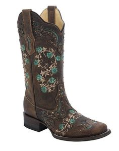 Corral Women's Brown and Turquoise Floral Embroidery and Studs Square Toe Cowgirl Boots - HeadWest Outfitters