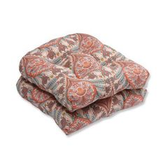 Pillow Perfect Outdoor/ Indoor Crescent Beach Coral Wicker Seat Cushion (Set of 2), Orange