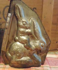 EXTREMELY RARE Antique Vintage metal bunny rabbit chocolate mold - baby on back