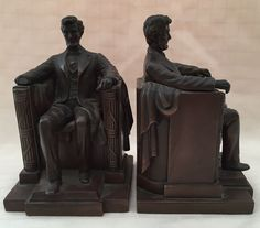 Antique Signed French JB Jennings Bros. Lincoln Memorial 2440 Bronze Bookends #JenningsBrosManufacturing #Lincoln