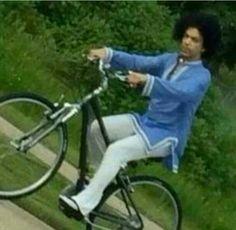 Prince riding his bike