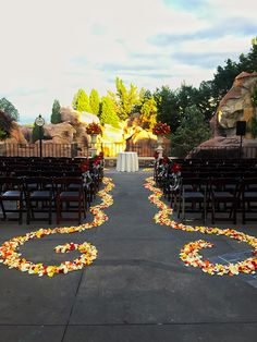 Rustic inspired ceremony venue at the Canada Terrace in Epcot