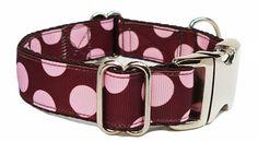 Brown & Pink Dots Dog Collar