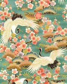 crane patttern for butsadon Japanese Textiles, Japanese Fabric, Japanese Prints, Japanese Design, Japanese Painting, Chinese Painting, Chinese Art, Chinese Patterns, Japanese Patterns