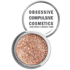 Obsessive Compulsive Cosmetics Beige Cosmetic Glitter Powder ($15) ❤ liked on Polyvore featuring beauty products, makeup, face makeup, face powder and beige