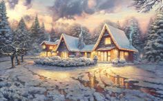 christmas country painting - Buscar con Google