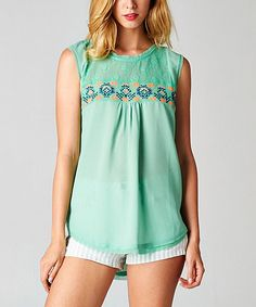 Look at this Esley Collection Sage Tribal Hi-Low Tank on #zulily today!