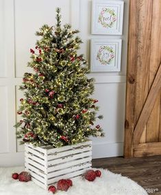 Give your Christmas tree a trendy update with a wooden crate!