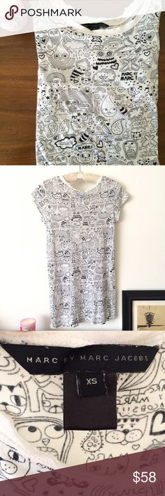 """SALE❤️MBMJ Cartoon sheer shirt XS SMALL FLAW: I will miss this crazy one. It's a long t shirt with cartoon drawings and some small holes (shown) on lower left. It's an easy fix but they land below the belt and not noticeable. It's semi sheer so rock the good bra. Measures approx: chest 33"""" and stretchable x 30"""" length. Marc by Marc Jacobs Tops Button Down Shirts"""