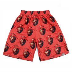 Hip Hop men 3d print Rap singer 2PAC Tupac mesh breathable pants White/Black/Red