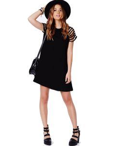 Black Cut Out Short Sleeve Swing Dress - Sheinside.com