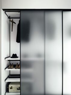 Like the thin frame with single pane glass - closet doors - Boffi wardrobe with frosted glass doors Corner Wardrobe, Bedroom Wardrobe, Wardrobe Closet, Walk In Closet, Wardrobe Sale, Wooden Wardrobe, Small Wardrobe, Room Closet, Corner Closet