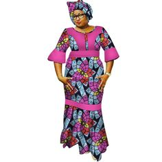 Image of New Dashiki Women Long Dresses with Headscarf Bazin Riche African Patchwork Dresses for Women African Style Clothing 1 African Print Skirt, African Print Dresses, African Print Fashion, African Fabric, Latest African Fashion Dresses, African Dresses For Women, African Wear, African Women, African Style Clothing