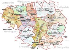 Image detail for -Postcodes Map of Greater Manchester UK