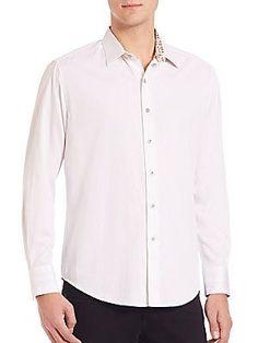 Robert Graham Volcanic Rock Woven Cotton Shirt - White - Size