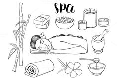 Spa doodle set by Netkoff on @creativemarket